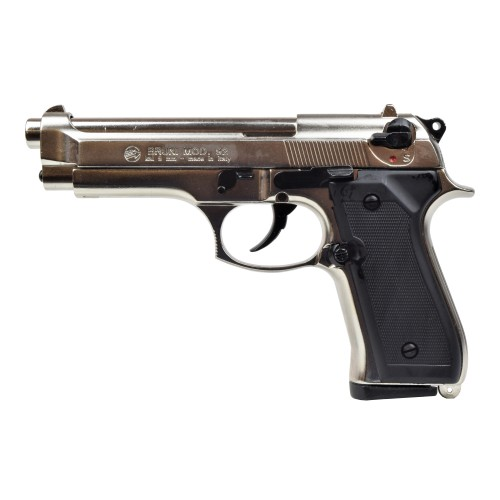 BRUNI TOP FIRING BLANK PISTOL 92 CALIBER 9MM SANDBLASTED AND FROSTED NIKEL (BR-1305N)