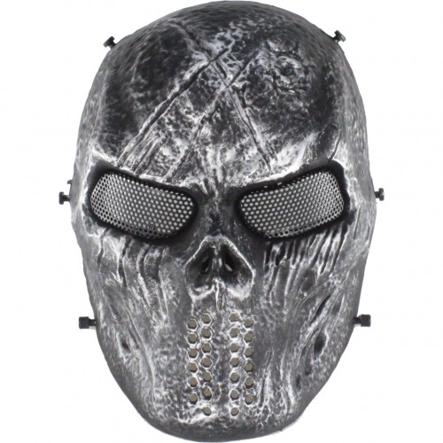 WOSPORT BLOODED SKULL MASK BLACK AND SILVER (WO-MA79S)