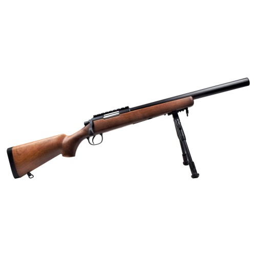 WELL SNIPER SPRING POWERED RIFLE WITH BIPOD IMITATION WOOD (MB02BW)