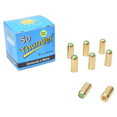 EUROCOMM THUNDER BLANK CARTRIDGES CALIBER 9mm BRASS 50 PIECES (CS-AZURES)