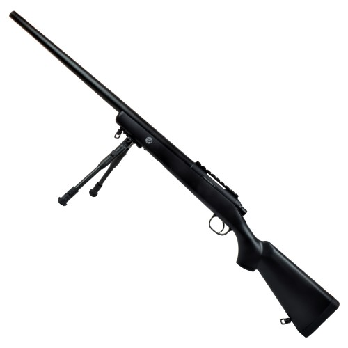 WELL SNIPER SPRING POWERED RIFLE WITH BIPOD BLACK (MB03BB)