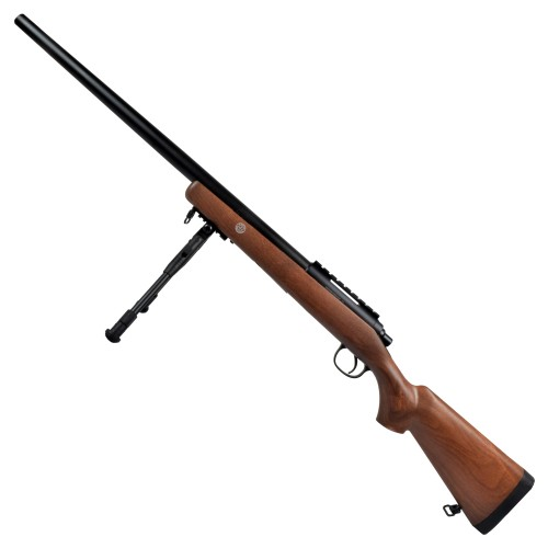 WELL SNIPER SPRING POWERED RIFLE WITH BIPOD IMITATION WOOD (MB03BW)