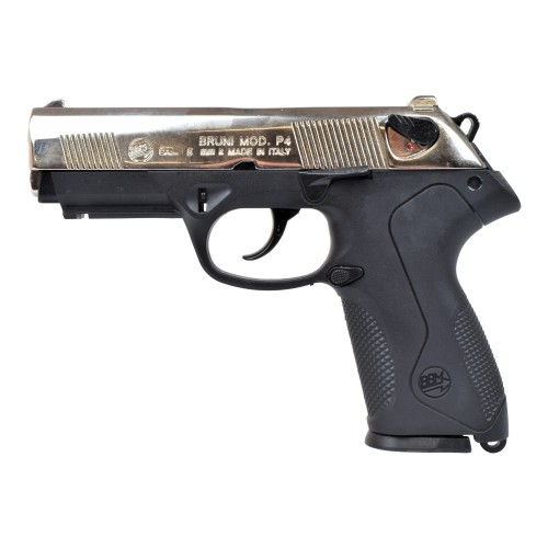 BRUNI TOP FIRING BLANK PISTOL P4 CALIBER 8MM NIKEL (BR-2600N)