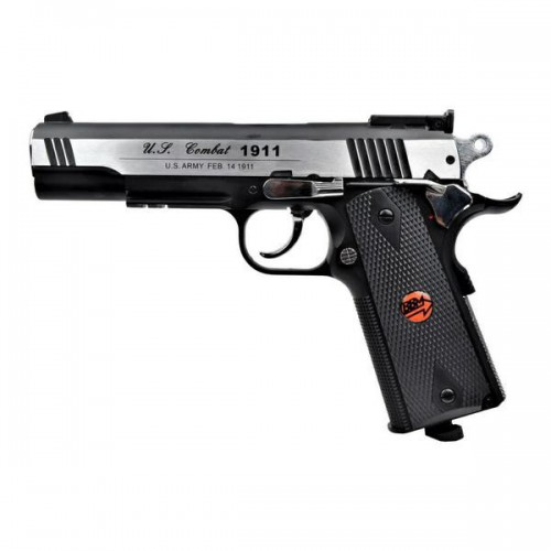 BRUNI CO2 4,5MM PISTOL U S  COMBAT 1911 FULL METAL SILVER (BR-601MS)