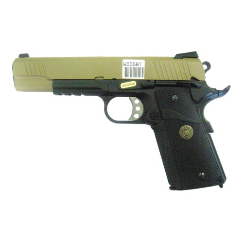 WE GAS PISTOL 1911 KIMBER STYLE BLACK AND TAN (W055BT)