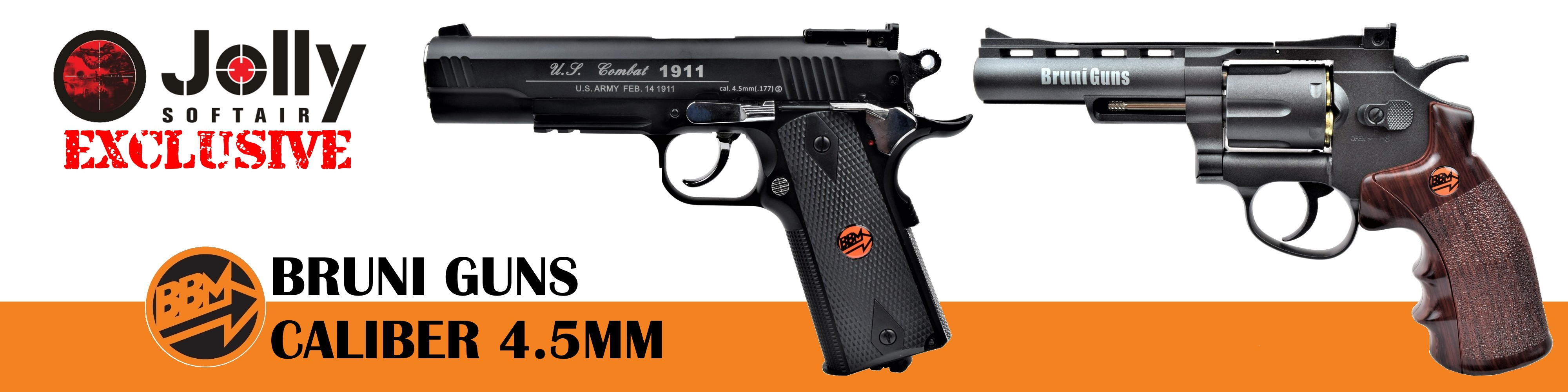 Jolly Softair exclusive, Bruni Guns CO2 caliber 4,5mm pistols